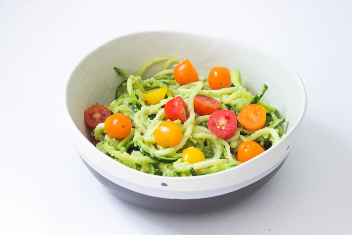 vagan zucchini noodles with avocado sauce