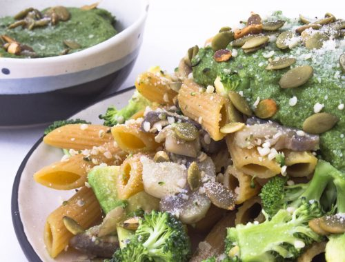 Vegan pesto pasta, healthy eating, vegan recipe, mindful eating, vegan pasta
