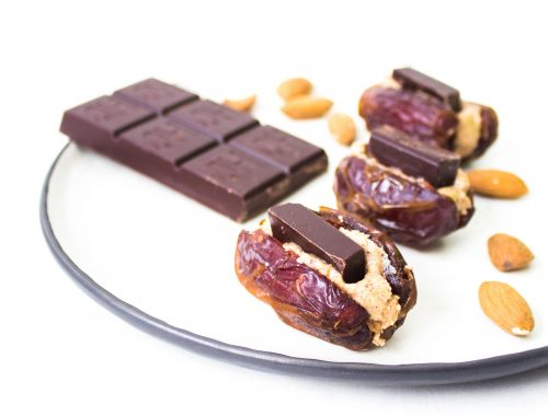 Almond butter stuffed dates, healthy snack, vegan snack, vegan treat, sweet snack, plant based recipe, vegan recipe, vegan desserts