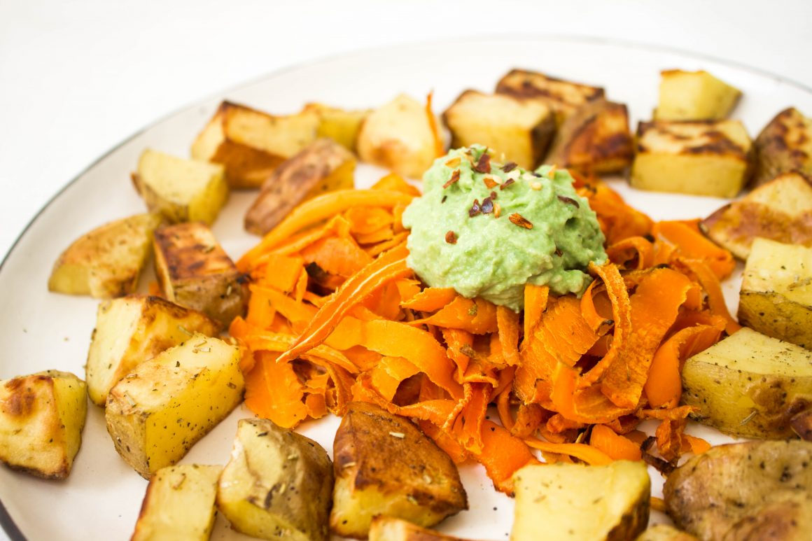 roasted potatoes, roasted carrots, carrot spaghetti, vegan recipe, plant based food, vegan dinner, healthy dinner