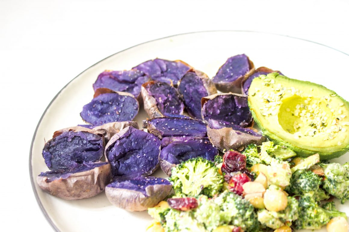 Roasted purple potatoes, purple potatoes, vegan recipe, vegan potatoes, healthy recipe, plant based recipe, vegan dinner, vegan lunch, eat the rainbow