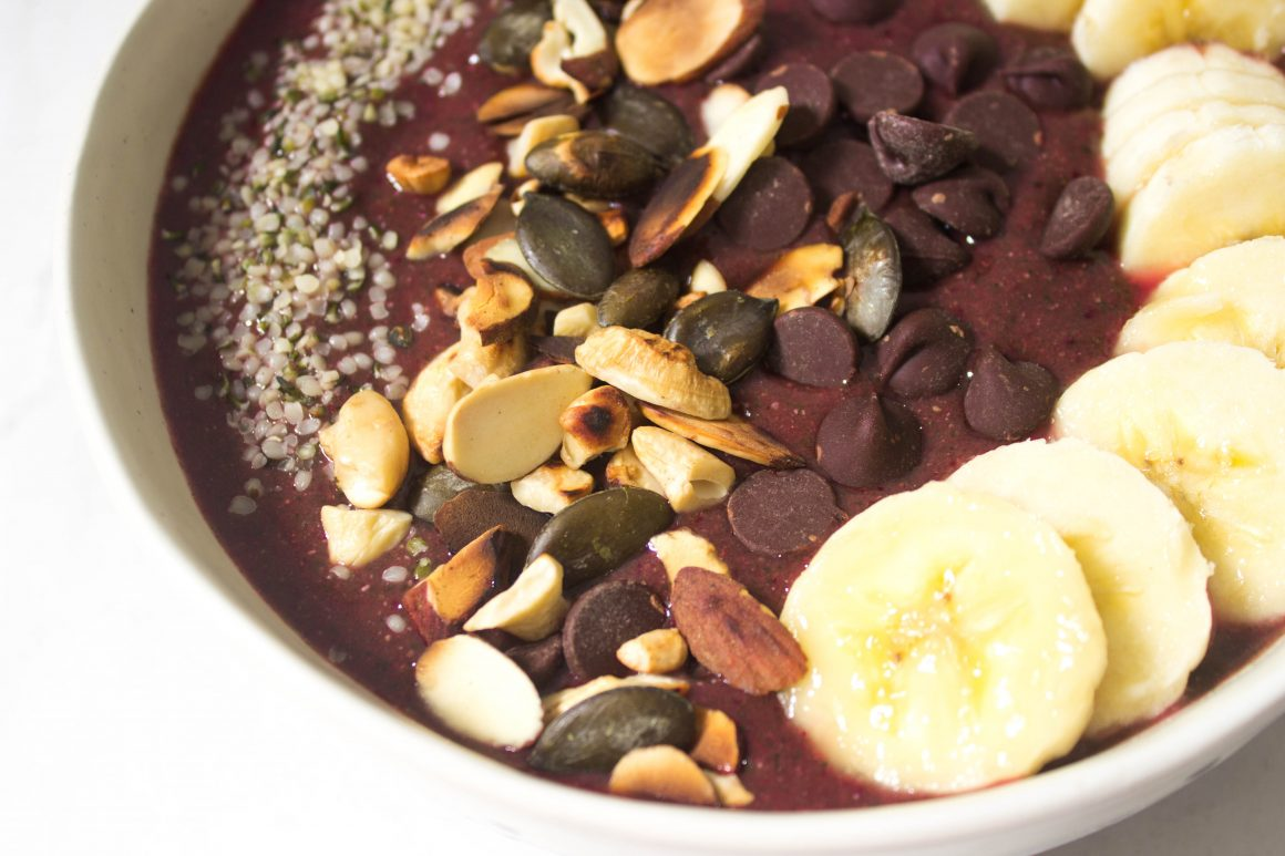 Cherry smoothie bowl, açai bowl, vegan bowl, plant based, plant based recipe, healthy recipe, health coach, fruit bowl