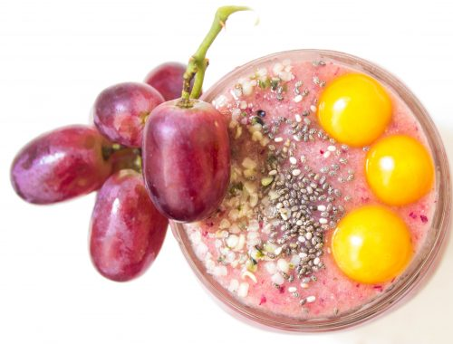 Grape smoothie, smoothie, fruit smoothie, pink smoothie, healthy smoothie, summer smoothie, vegan recipe, plant based recipe, vegan snack